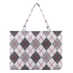 Fabric Texture Argyle Design Grey Medium Tote Bag