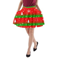 Xmas pattern A-Line Pocket Skirt