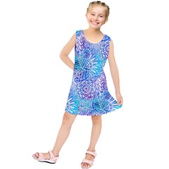 Boho Flower Doodle On Blue Watercolor Kids  Tunic Dress