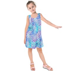 Boho Flower Doodle On Blue Watercolor Kids  Sleeveless Dress