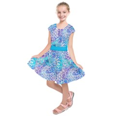 Boho Flower Doodle On Blue Watercolor Kids  Short Sleeve Dress