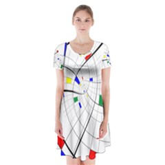Swirl Grid With Colors Red Blue Green Yellow Spiral Short Sleeve V-neck Flare Dress