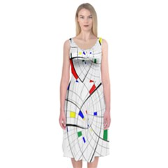 Swirl Grid With Colors Red Blue Green Yellow Spiral Midi Sleeveless Dress