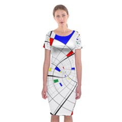 Swirl Grid With Colors Red Blue Green Yellow Spiral Classic Short Sleeve Midi Dress