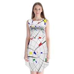 Swirl Grid With Colors Red Blue Green Yellow Spiral Sleeveless Chiffon Dress