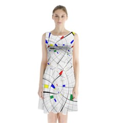 Swirl Grid With Colors Red Blue Green Yellow Spiral Sleeveless Chiffon Waist Tie Dress