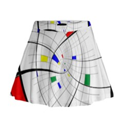 Swirl Grid With Colors Red Blue Green Yellow Spiral Mini Flare Skirt