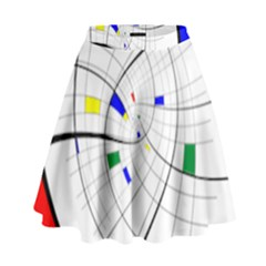 Swirl Grid With Colors Red Blue Green Yellow Spiral High Waist Skirt