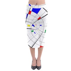 Swirl Grid With Colors Red Blue Green Yellow Spiral Midi Pencil Skirt