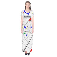 Swirl Grid With Colors Red Blue Green Yellow Spiral Short Sleeve Maxi Dress