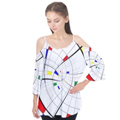 Swirl Grid With Colors Red Blue Green Yellow Spiral Flutter Tees