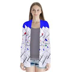 Swirl Grid With Colors Red Blue Green Yellow Spiral Drape Collar Cardigan