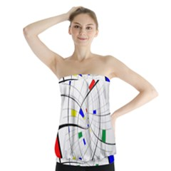 Swirl Grid With Colors Red Blue Green Yellow Spiral Strapless Top