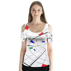 Swirl Grid With Colors Red Blue Green Yellow Spiral Butterfly Sleeve Cutout Tee