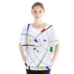 Swirl Grid With Colors Red Blue Green Yellow Spiral Blouse