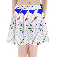 Swirl Grid With Colors Red Blue Green Yellow Spiral Pleated Mini Skirt