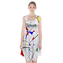 Swirl Grid With Colors Red Blue Green Yellow Spiral Racerback Midi Dress