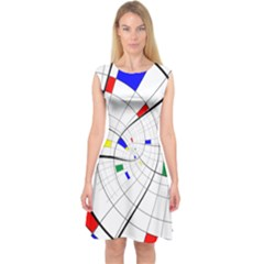 Swirl Grid With Colors Red Blue Green Yellow Spiral Capsleeve Midi Dress
