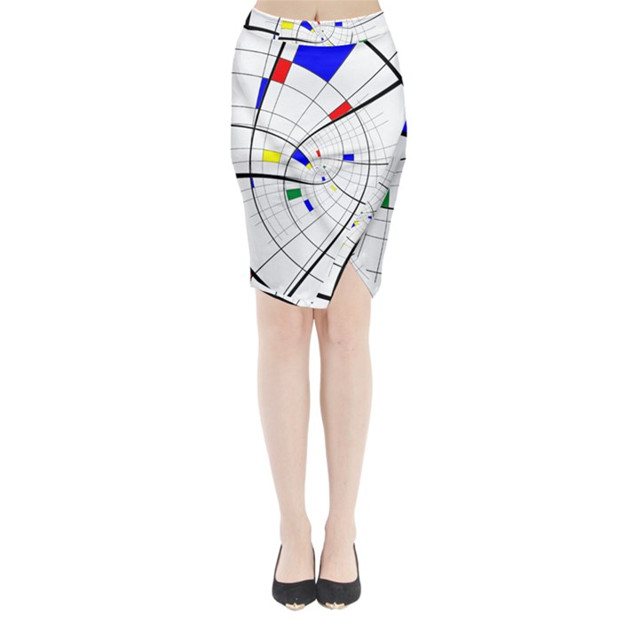 Swirl Grid With Colors Red Blue Green Yellow Spiral Midi Wrap Pencil Skirt