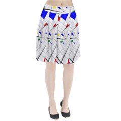 Swirl Grid With Colors Red Blue Green Yellow Spiral Pleated Skirt