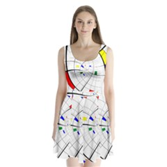 Swirl Grid With Colors Red Blue Green Yellow Spiral Split Back Mini Dress