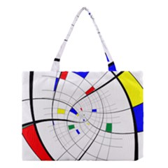 Swirl Grid With Colors Red Blue Green Yellow Spiral Medium Tote Bag