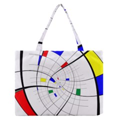 Swirl Grid With Colors Red Blue Green Yellow Spiral Medium Zipper Tote Bag