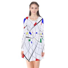 Swirl Grid With Colors Red Blue Green Yellow Spiral Flare Dress