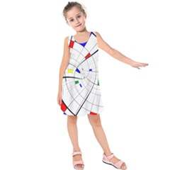 Swirl Grid With Colors Red Blue Green Yellow Spiral Kids  Sleeveless Dress