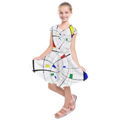Swirl Grid With Colors Red Blue Green Yellow Spiral Kids  Short Sleeve Dress