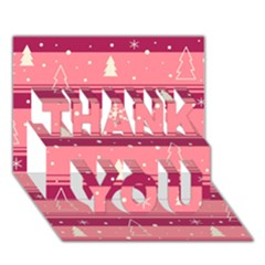 Pink Xmas THANK YOU 3D Greeting Card (7x5)