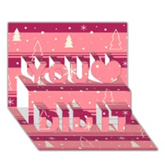 Pink Xmas You Did It 3D Greeting Card (7x5)