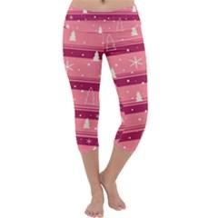 Pink Xmas Capri Yoga Leggings