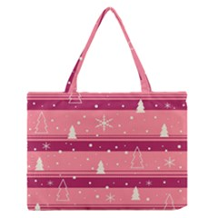 Pink Xmas Medium Zipper Tote Bag