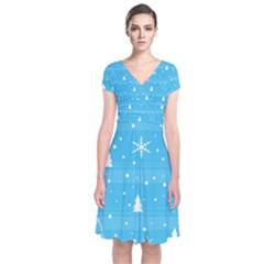 Blue Xmas Short Sleeve Front Wrap Dress