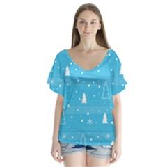 Blue Xmas Flutter Sleeve Top
