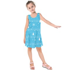 Blue Xmas Kids  Sleeveless Dress
