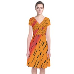 Clothing (21)6k,kg Short Sleeve Front Wrap Dress