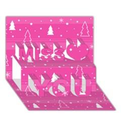 Magenta Xmas Miss You 3D Greeting Card (7x5)