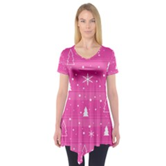 Magenta Xmas Short Sleeve Tunic
