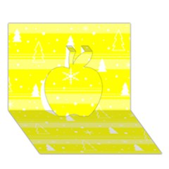 Yellow Xmas Apple 3D Greeting Card (7x5)
