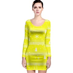 Yellow Xmas Long Sleeve Bodycon Dress