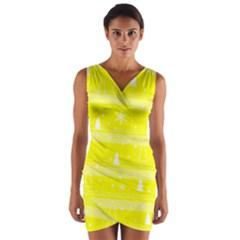 Yellow Xmas Wrap Front Bodycon Dress