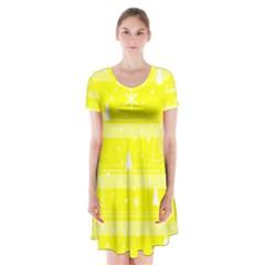 Yellow Xmas Short Sleeve V Neck Flare Dress