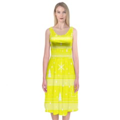 Yellow Xmas Midi Sleeveless Dress