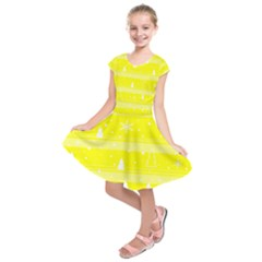 Yellow Xmas Kids  Short Sleeve Dress