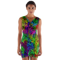 Hot Liquid Abstract A Wrap Front Bodycon Dress
