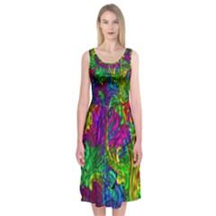 Hot Liquid Abstract A Midi Sleeveless Dress