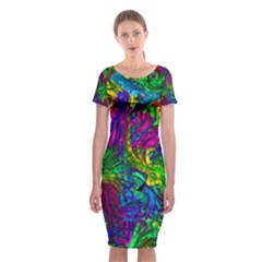 Hot Liquid Abstract A Classic Short Sleeve Midi Dress