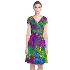 Hot Liquid Abstract A Short Sleeve Front Wrap Dress